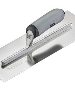 Ragni Feather Edge (Preworn) Stainless Finishing Trowel with a standard lift soft grip handle