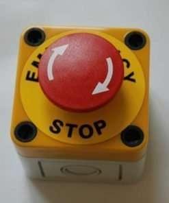 Emergency stop button twist release